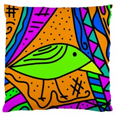 Green Bird Large Flano Cushion Case (two Sides) by Valentinaart