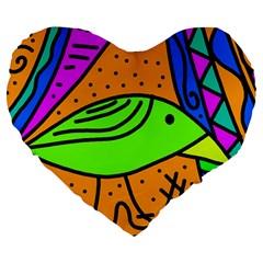 Green Bird Large 19  Premium Flano Heart Shape Cushions by Valentinaart