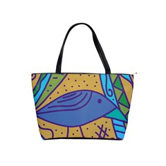 Blue Bird Shoulder Handbags by Valentinaart