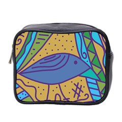 Blue Bird Mini Toiletries Bag 2 Side by Valentinaart