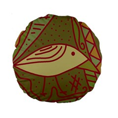 Brown Bird Standard 15  Premium Round Cushions by Valentinaart