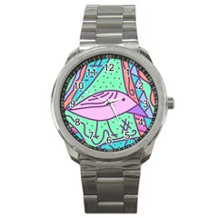 Pink Pastel Bird Sport Metal Watch by Valentinaart