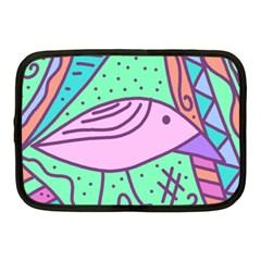 Pink Pastel Bird Netbook Case (medium)  by Valentinaart