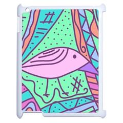 Pink Pastel Bird Apple Ipad 2 Case (white) by Valentinaart