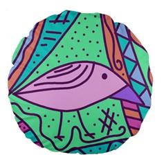 Pink Pastel Bird Large 18  Premium Round Cushions by Valentinaart