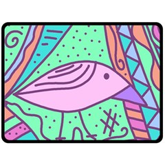 Pink Pastel Bird Double Sided Fleece Blanket (large)