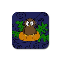 Halloween owl and pumpkin Rubber Coaster (Square)  by Valentinaart