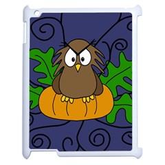 Halloween Owl And Pumpkin Apple Ipad 2 Case (white) by Valentinaart