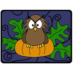Halloween Owl And Pumpkin Double Sided Fleece Blanket (large)  by Valentinaart