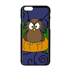 Halloween Owl And Pumpkin Apple Iphone 6/6s Black Enamel Case by Valentinaart
