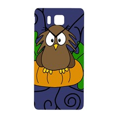 Halloween Owl And Pumpkin Samsung Galaxy Alpha Hardshell Back Case by Valentinaart