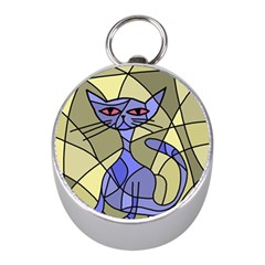 Artistic Cat   Blue Mini Silver Compasses by Valentinaart