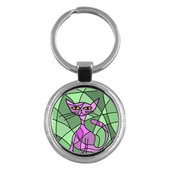 Artistic Cat   Purple Key Chains (round)  by Valentinaart