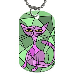 Artistic Cat   Purple Dog Tag (two Sides) by Valentinaart