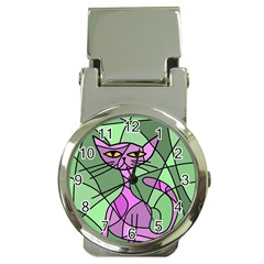 Artistic Cat   Purple Money Clip Watches by Valentinaart