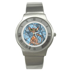 Artistic  Cat   Orange Stainless Steel Watch by Valentinaart