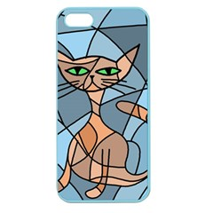 Artistic  Cat   Orange Apple Seamless Iphone 5 Case (color) by Valentinaart