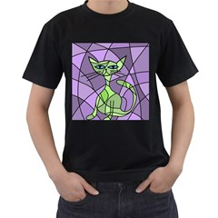 Artistic cat - green Men s T-Shirt (Black) (Two Sided)