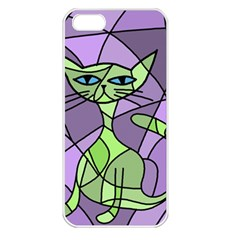 Artistic Cat   Green Apple Iphone 5 Seamless Case (white) by Valentinaart