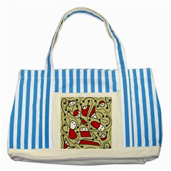 Playful Abstraction Striped Blue Tote Bag by Valentinaart