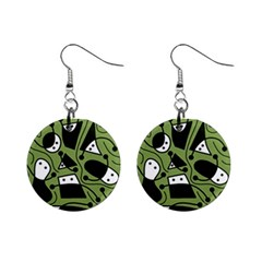 Playful Abstract Art   Green Mini Button Earrings by Valentinaart