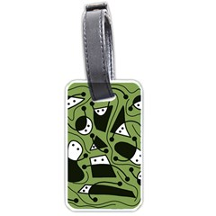 Playful Abstract Art   Green Luggage Tags (one Side)  by Valentinaart