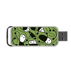 Playful Abstract Art   Green Portable Usb Flash (one Side) by Valentinaart