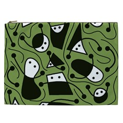 Playful Abstract Art   Green Cosmetic Bag (xxl)  by Valentinaart