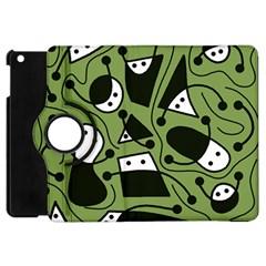 Playful Abstract Art   Green Apple Ipad Mini Flip 360 Case by Valentinaart
