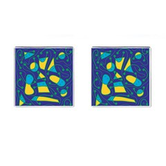 Playful Abstract Art   Blue And Yellow Cufflinks (square) by Valentinaart