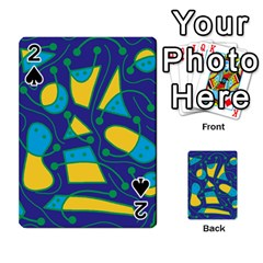 Playful Abstract Art   Blue And Yellow Playing Cards 54 Designs  by Valentinaart