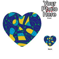 Playful Abstract Art   Blue And Yellow Multi Purpose Cards (heart)  by Valentinaart