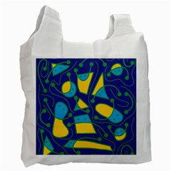 Playful Abstract Art   Blue And Yellow Recycle Bag (one Side) by Valentinaart