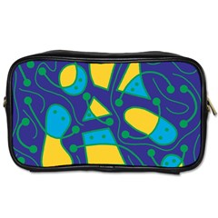 Playful Abstract Art   Blue And Yellow Toiletries Bags 2 Side by Valentinaart