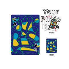 Playful Abstract Art   Blue And Yellow Playing Cards 54 (mini)  by Valentinaart