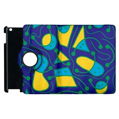 Playful Abstract Art   Blue And Yellow Apple Ipad 3/4 Flip 360 Case by Valentinaart