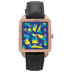 Playful Abstract Art   Blue And Yellow Rose Gold Leather Watch  by Valentinaart