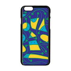 Playful Abstract Art   Blue And Yellow Apple Iphone 6/6s Black Enamel Case by Valentinaart