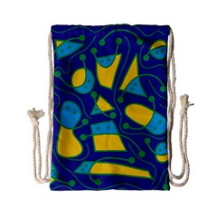 Playful Abstract Art   Blue And Yellow Drawstring Bag (small) by Valentinaart