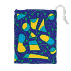 Playful Abstract Art   Blue And Yellow Drawstring Pouches (extra Large) by Valentinaart
