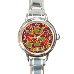 Playful Decorative Abstract Art Round Italian Charm Watch by Valentinaart