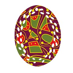 Playful Decorative Abstract Art Oval Filigree Ornament (2 Side)  by Valentinaart