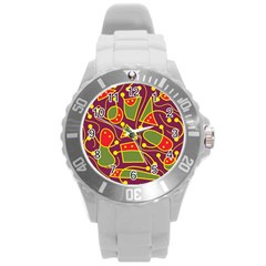 Playful Decorative Abstract Art Round Plastic Sport Watch (l) by Valentinaart