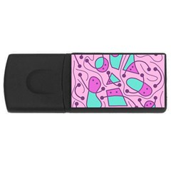 Playful Abstract Art   Pink Usb Flash Drive Rectangular (4 Gb)  by Valentinaart