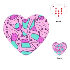 Playful Abstract Art   Pink Playing Cards (heart)  by Valentinaart