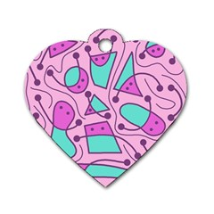 Playful Abstract Art   Pink Dog Tag Heart (two Sides) by Valentinaart