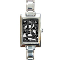 Playful Abstract Art   Gray Rectangle Italian Charm Watch by Valentinaart