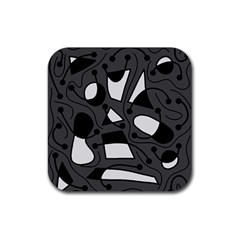 Playful Abstract Art   Gray Rubber Coaster (square)  by Valentinaart