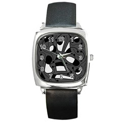 Playful Abstract Art   Gray Square Metal Watch by Valentinaart