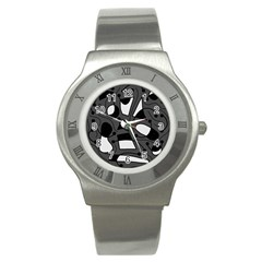 Playful Abstract Art   Gray Stainless Steel Watch by Valentinaart